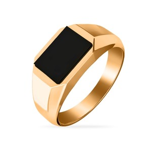 Кольцо красное золото Геометрия оникс