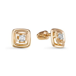 Серьги - Пусеты красное золото Квадрат бриллиант