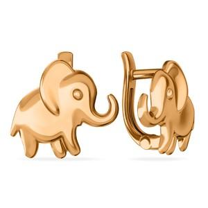 Серьги детские красное золото Слон